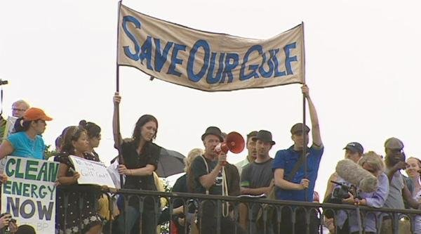 Chandler at BP Protest in 2010